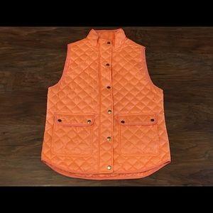 JCREW Orange Quilted Puffy Vest